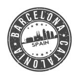 Barcelona Catalonia Spain Europe Round Button City Skyline Design Stamp Vector Travel Tourism. Skyline with emblematic Buildings and Monuments of this famous royalty free illustration