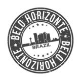 Belo Horizonte Brazil America Round Button City Skyline Design Stamp Vector Travel Tourism. Skyline with emblematic Buildings and Monuments of this famous city royalty free illustration