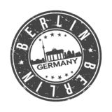 Berlin Germany Europe Round Button City Skyline Design Stamp Vector Travel Tourism. Skyline with emblematic Buildings and Monuments of this famous city royalty free illustration