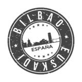 Bilbao Spain Europe Round Button City Skyline Design Stamp Vector Travel Tourism. Skyline with emblematic Buildings and Monuments of this famous city stock illustration