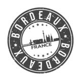 Bordeaux France Europe Round Button City Skyline Design Stamp Vector Travel Tourism. Skyline with emblematic Buildings and Monuments of this famous city stock illustration