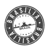 Brasilia Brazil South America Round Button City Skyline Design Stamp Vector Travel Tourism. Skyline with emblematic Buildings and Monuments of this famous city royalty free illustration