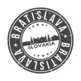 Bratislava Slovakia Europe Round Button City Skyline Design Stamp Vector Travel Tourism. Skyline with emblematic Buildings and Monuments of this famous city royalty free illustration