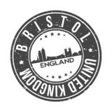 Bristol England UK Europe Round Button City Skyline Design Stamp Vector Travel Tourism. Skyline with emblematic Buildings and Monuments of this famous city stock illustration
