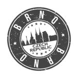 Brno Czech Republic Europe Round Button City Skyline Design Stamp Vector Travel Tourism. Skyline with emblematic Buildings and Monuments of this famous city royalty free illustration