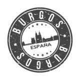 Burgos Spain Europe Round Button City Skyline Design Stamp Vector Travel Tourism. Skyline with emblematic Buildings and Monuments of this famous city royalty free illustration
