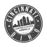 Cincinnati Ohio USA Round Button City Skyline Design Stamp Vector Travel Tourism. Skyline with emblematic Buildings and Monuments of this famous city royalty free illustration