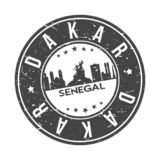 Dakar Senegal Africa Round Button City Skyline Design Stamp Vector Travel Tourism. Skyline with emblematic Buildings and Monuments of this famous city stock illustration