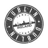 Dublin Ireland Europe Round Button City Skyline Design Stamp Vector Travel Tourism. Skyline with emblematic Buildings and Monuments of this famous city royalty free illustration