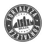 Fortaleza Brazil America Round Button City Skyline Design Stamp Vector Travel Tourism. Skyline with emblematic Buildings and Monuments of this famous city vector illustration