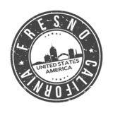 Fresno California USA Round Button City Skyline Design Stamp Vector Travel Tourism. Skyline with emblematic Buildings and Monuments of this famous city royalty free illustration