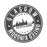 Glasgow Scotland UK Europe Round Button City Skyline Design Stamp Vector Travel Tourism. Skyline with emblematic Buildings and Monuments of this famous city stock illustration