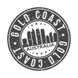 Gold Coast Australia Oceania Round Button City Skyline Design Stamp Vector Travel Tourism. Skyline with emblematic Buildings and Monuments of this famous city royalty free illustration