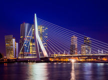 Skyline with Erasmus Bridge Stock Images