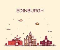 Skyline Esc?cia de Edimburgo na moda um vetor linear ilustração do vetor