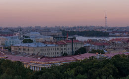 Skyline of evening Saint-Petersburg Stock Photos