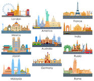 Skyline of Famous Building. Vector illustration of skyline of famous building of important city around the world Stock Image