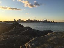 Skyline. Far view of Chicago skyline and the Lake Michigan stock images