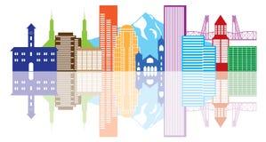 Skyline-Farbvektor-Illustration Portlands Oregon stock abbildung