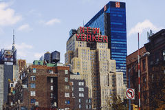 Skyline featuring the New Yorker hotel in the Garment distric M Royalty Free Stock Image