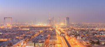Skyline of the Financial Centre Dubai. Dubai Financial Center District at sunrise Royalty Free Stock Photo