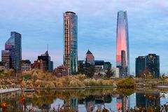 Skyline of Financial District in Las Condes from Bicentennial park in Vitacura in Santiago de Chile Stock Photo