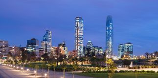 Skyline of Financial District at Providencia from Parque Bicentenario in Vitacura. Skyline of Financial District at Providencia from Parque Bicentenario Stock Image