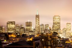 Skyline of Financial district of San Francisco at night. California, USA Royalty Free Stock Photo