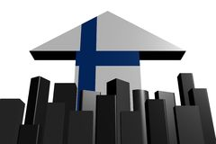 Skyline and Finnish flag arrow Stock Images