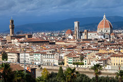 Skyline of Florence city with Duomo and Palazzo. Travel to Italy - skyline of Florence city with Duomo and Palazzo Vecchio from Piazzale Michelangelo Stock Images