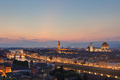Skyline of Florence Italy at dusk Stock Photos