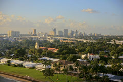 Skyline, Fort Lauderdale, Florida, USA. The skyline of Fort Lauderdale, Florida, USA with the residential area in the foreground and a main highway  going Stock Images