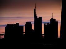 Skyline of Frankfur at sunset Royalty Free Stock Photography