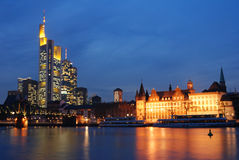 Skyline of Frankfurt. Germany, modern finance district and historic buildings royalty free stock photos