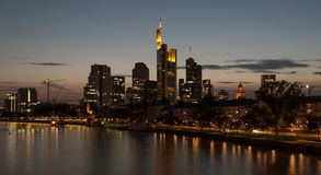 Skyline of Frankfurt city in twilight Stock Images