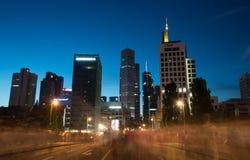 Skyline of Frankfurt city in twilight Royalty Free Stock Photo