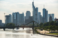 Skyline of Frankfurt at evening Royalty Free Stock Photos