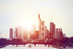 Skyline Frankfurt Evening sun Royalty Free Stock Photo