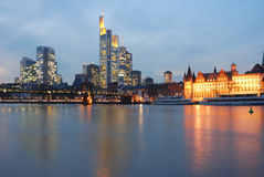 Skyline of Frankfurt, Germany. Modern finance district and historic buildings Royalty Free Stock Photo