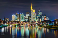 Skyline of Frankfurt, Germany. At night Stock Photo