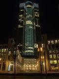 The skyline of Frankfurt, Germany, at night Royalty Free Stock Photos