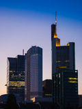 Skyline of Frankfurt, Germany, at sunset Royalty Free Stock Images