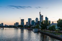 Skyline of Frankfurt in Germany at sunset orange sky royalty free stock photos