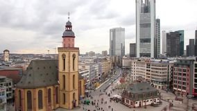 Skyline of Frankfurt with Hauptwache and the plaza stock video footage