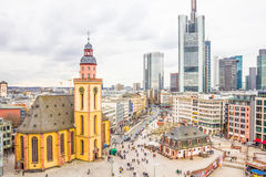 Skyline of Frankfurt with Hauptwache and the plaza Royalty Free Stock Image