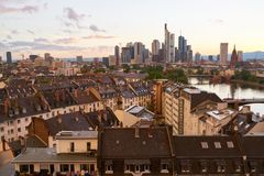Skyline of Frankfurt am Main in the evening. With skyscrapers and skyscrapers Stock Photo