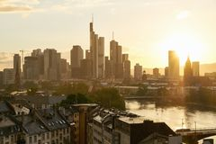 Skyline of Frankfurt am Main in the evening with sun. And many skyscrapers Royalty Free Stock Photo