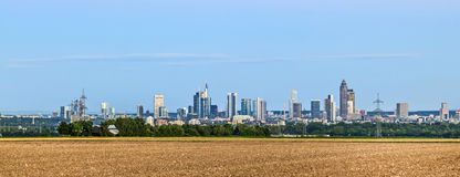 Skyline of Frankfurt am Main with fields in foreground Royalty Free Stock Photography