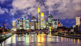Skyline of Frankfurt on Main, Germany, in the evening. Frankfurt on Main, Germany, view over the Main river to the skyline of financial district in the evening Stock Image