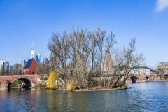 Skyline of Frankfurt an Main with old historic bridge Stock Photos